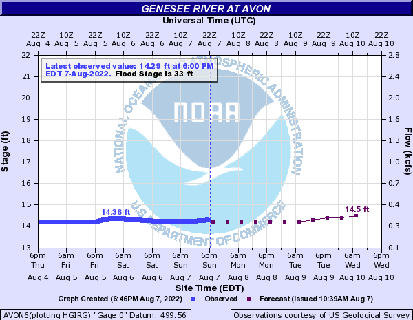 Forecast Hydrograph for AVON6