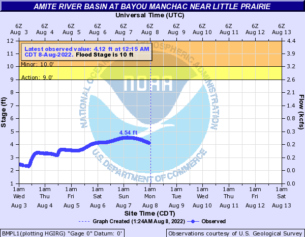 Amite River Basin at Bayou Manchac near Little Prairie