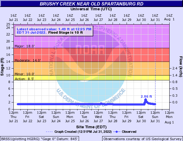 Brushy Creek near Old Spartanburg Rd