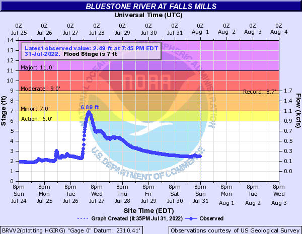 Bluestone River at Falls Mills