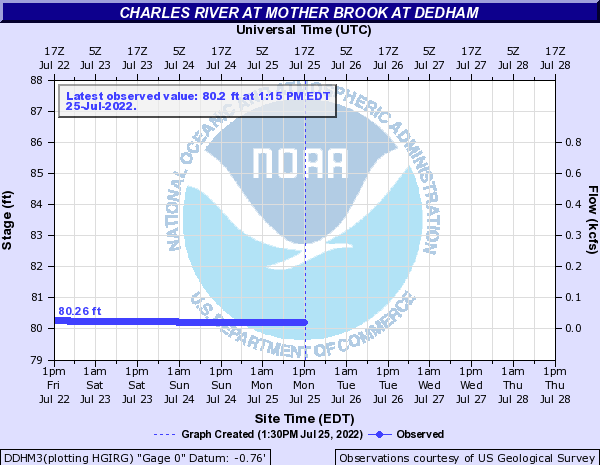 Charles River at Mother Brook at Dedham