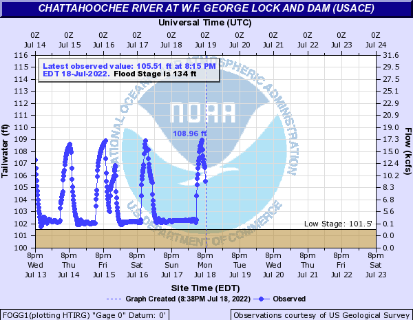 Chattahoochee River at W.F. George Lock and Dam (USACE)