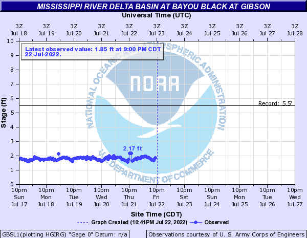 Mississippi River Delta Basin at Bayou Black at Gibson