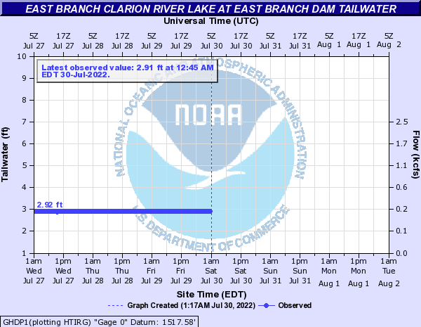 East Branch Clarion River Lake at East Branch Dam Tailwater