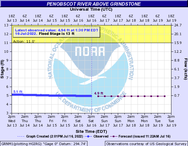 Forecast Hydrograph for GRNM1