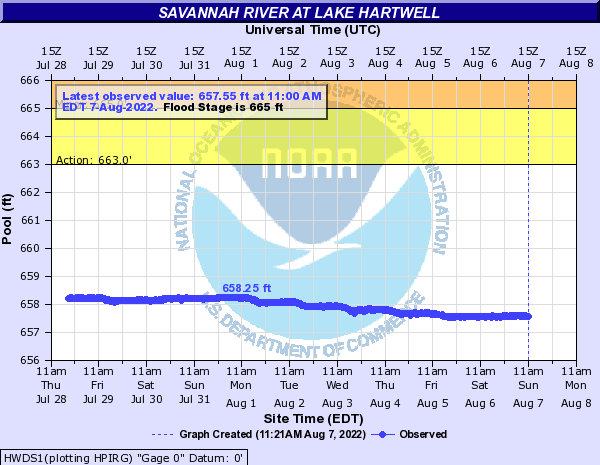 Savannah River at Lake Hartwell