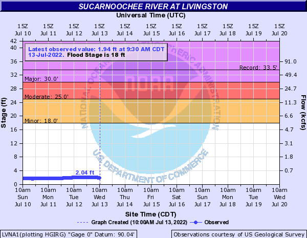 Sucarnoochee River at Livingston