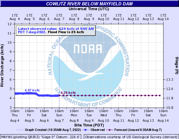 Cowlitz River below Mayfield Dam
