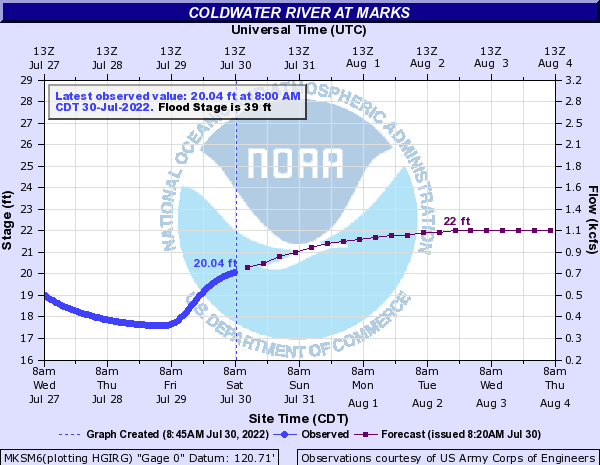 Coldwater River at Marks