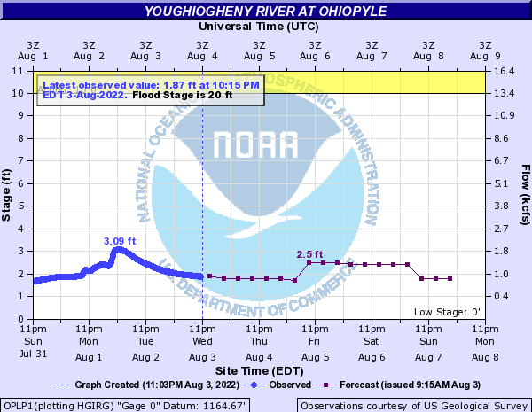 Youghiogheny River at Ohiopyle water level