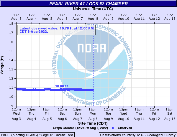 Pearl River at Lock #2 Chamber