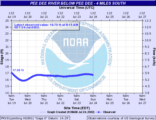 Pee Dee River below Pee Dee - 4 Miles South