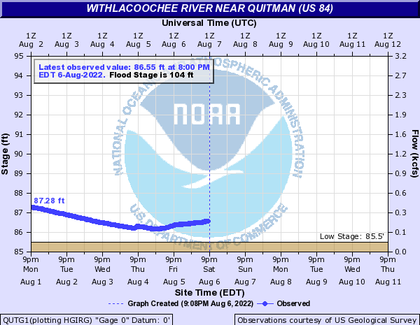 Live Withlacoochee River near Quitman @ US 84