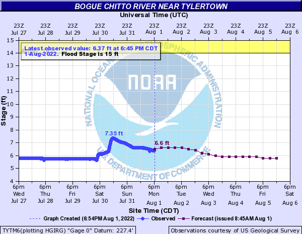 River gauge for Bogue Chitto River near Tylertown