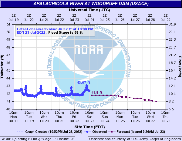Apalachicola River at Woodruff Dam (USACE)